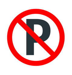parking not allowed red forbidden sign with vector image
