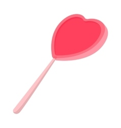 Pink candy on a stick in the form of heart icon vector