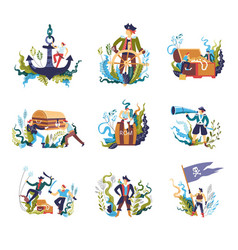 Pirate people with treasures and flag isolated set vector