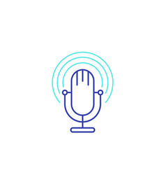Podcast line icon with mike vector