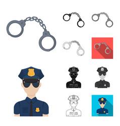 Police department cartoonblackflatmonochrome vector