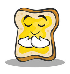praying face bread character cartoon vector image