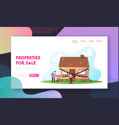 Property confiscation penalty loan landing page vector