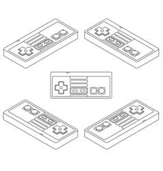 Retro console gamepad in isometric view vector