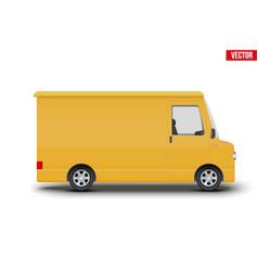 Retro yellow postal van minibus vector