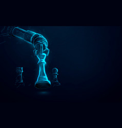 robot arm playing chess artificial intelligence vector image