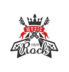 Rock music est 1979 logo design element with vector