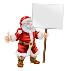 santa holding sign and doing thumbs up vector image