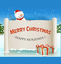 santa snowman behind christmas parchment vector image