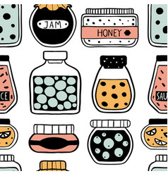 seamless pattern with doodle jars vector image