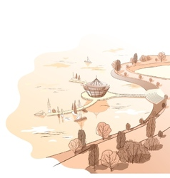 Sepia linear landscape with quay and boats vector