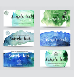 set cards with watercolor paint background vector image