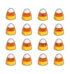 Set fun cute halloween candy corn icon cartoons vector
