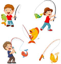 set little boys fishing vector image