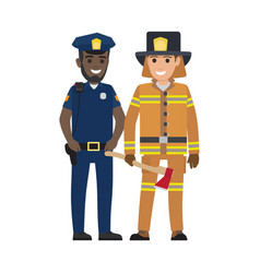 Set of black policeman and firefighter with ax vector
