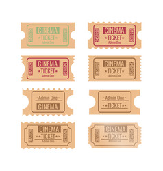 Set of different retro movie ticket vector