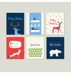 Set of greeting cards for Christmas and New Year vector