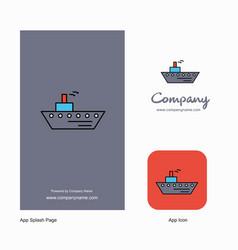 ship company logo app icon and splash page design vector image