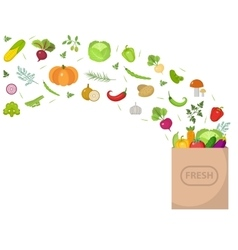 Shopping paper bag with fresh vegetables flat vector