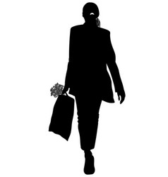 silhouette of a girl with a bag in her hands vector image