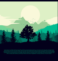 Silhouette of forest mountains and clouds vector
