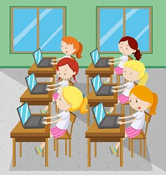 Six girls typing on computers vector