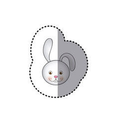 small sticker colorful picture face cute rabbit vector image