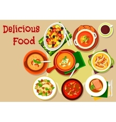 Soup salad dishes icon for restaurant menu design vector image