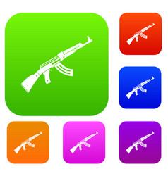 submachine gun set collection vector image