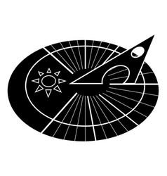 Sundial solar dial sun clock clock icon in glyph vector