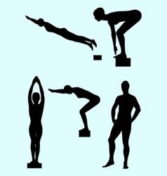 Swimmer gesture silhouette 02 vector