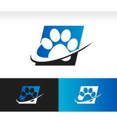 Swoosh Animal Paw Logo Icon vector image