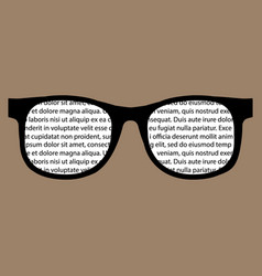 Text in glasses flat reading icon vector