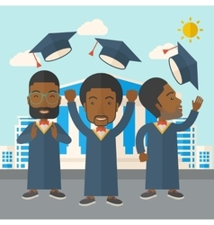 Three men throwing graduation cap vector
