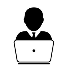 user icon with laptop computer male person vector image