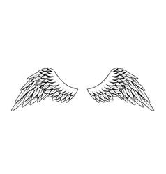Vintage heraldic wings monochrome stylized birds vector