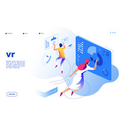 virtual reality concept vr people digital mobile vector image