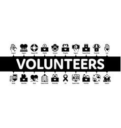 Volunteers support minimal infographic banner vector