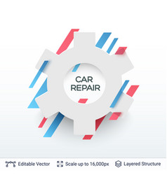white badge gear sticker vector image