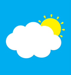 White cloud and yellow sun set fluffy clouds cute vector