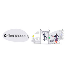 woman using mobile application online shopping vector image