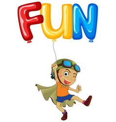 boy with balloon for word fun vector image vector image