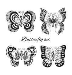 Butterflies decorative icons set vector image vector image