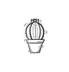 cactus in a pot hand drawn sketch icon vector image vector image