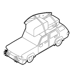 Car with luggage on the roof icon outline style vector image vector image