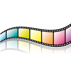 Colorful film roll with reflection vector image vector image