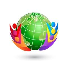 Happy teamwork and green world logo vector image