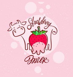 red sweet berry with a cow drawing strawberry milk vector image