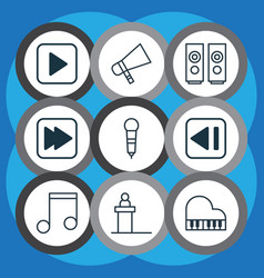 Set of 9 audio icons includes last song bullhorn vector