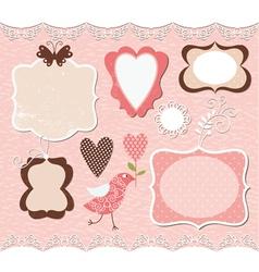 set of cute romantic frames vector image vector image